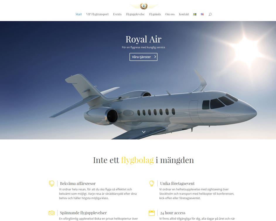 hemsida i WordPress till RoyalAir