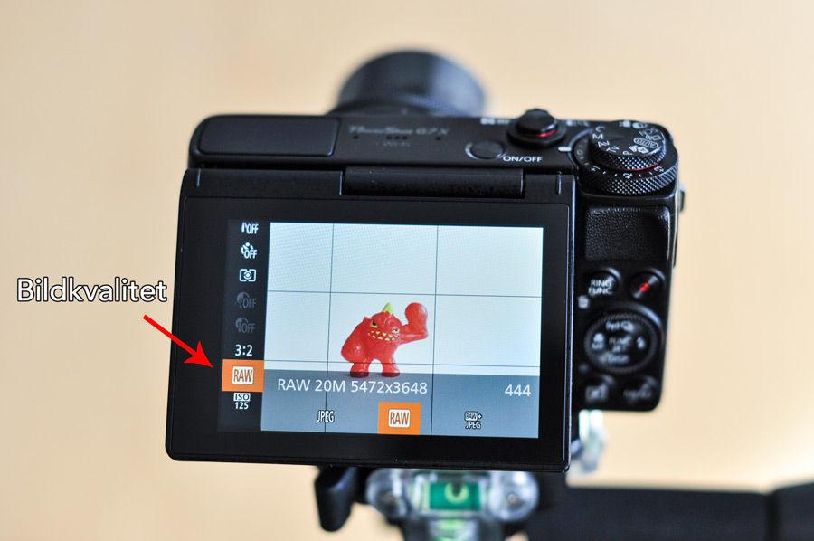 Välj högsta bildkvalitet när du ska ta produktbilder