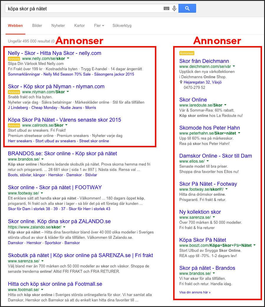 Annonser från Google Ads, tidigare AdWords