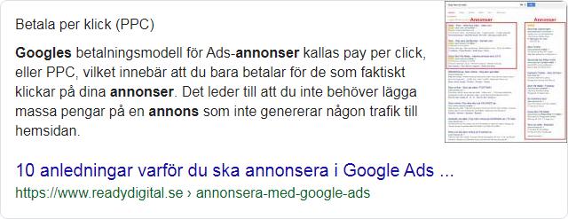 Exempel på featured snippet, för sökning Annonsera på Google