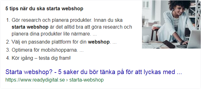 Featured snippet: starta webshop