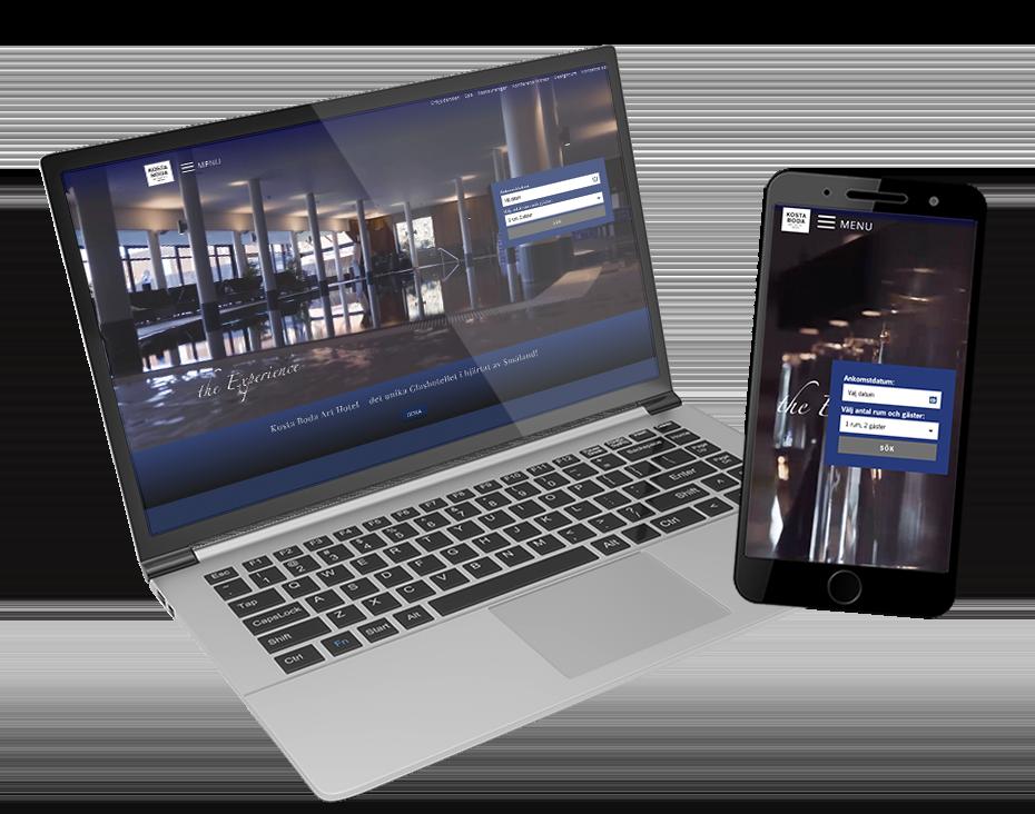 Kosta Boda Art Hotel på laptop och telefon