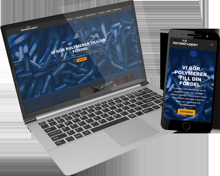 Hordagruppens webbplats på laptop och telefon